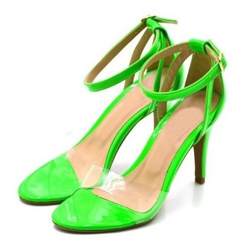 Sandália Salto Alto Fivela Transparente Neon Conforto Verão