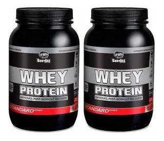 Kit 2 Whey Protein Standard - Unilife 900g Morango