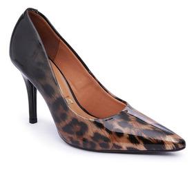 Sapato Scarpin Feminino Vizzano Animal Print Onça Verniz