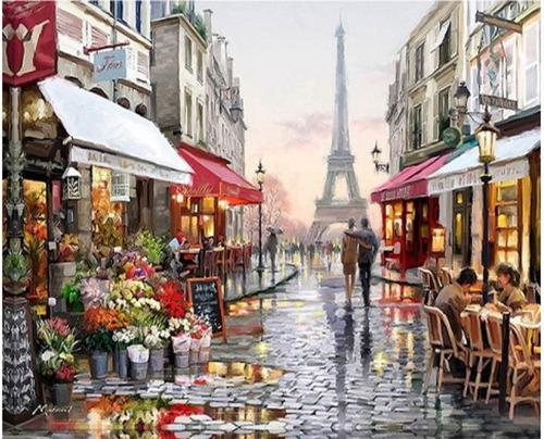 Pintura Numerada Paris Vintage Torre Eiffel Casal