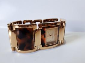 Relógio Em Pulseira Bracelete Dourado Com Animal Print