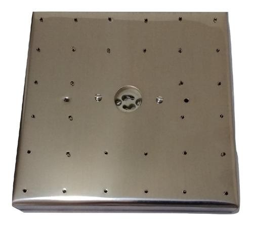 Base Aço Inox 17 Cm Quadrada Para Lustres 32 Furos