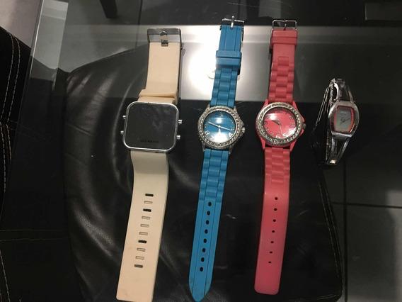 Set De 4 Relojes De Fantasía Para Mujer (todos Por 250)