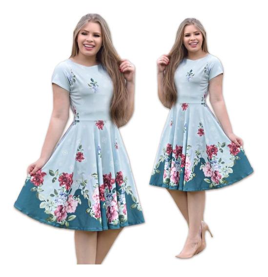 Vestido Moda Evangélica Gode Neoprene Midi Floral