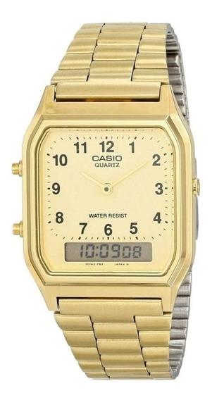 Relógio Unissex Casio Anadigi Aq-230ga-9bmq - Dourado