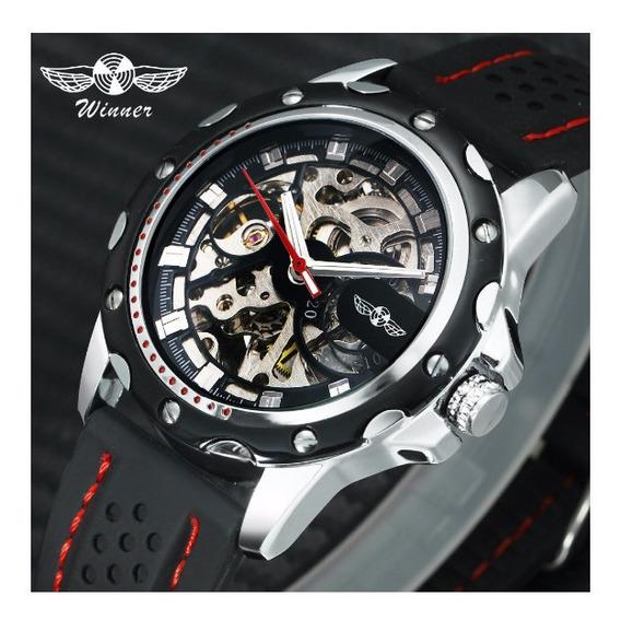Relógio Automático Winner / Mecânico Aço Inoxidável Black