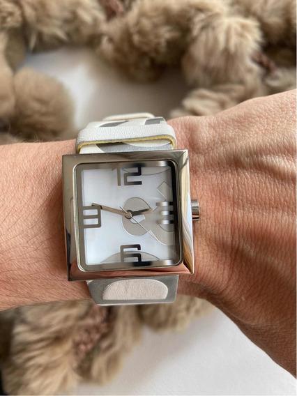 Lindo Relógio Dolce E Gabbana Pulseira Em Couro Branco!