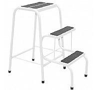 Escada Banqueta Aluminio 3 Degraus Dobravel Branca