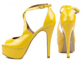 Sandália Salto Alto Fino Plataforma Amarelo Nude Preto 13cm