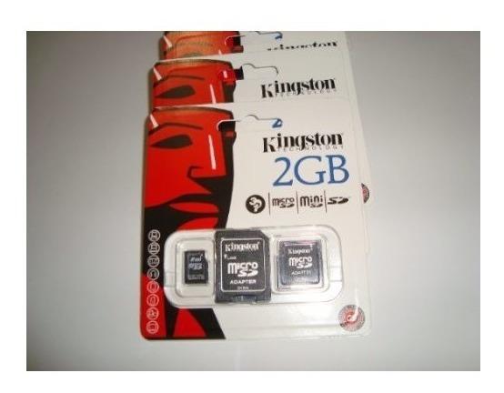 Cartão De Memória 2gb Micro Sd Com 2 Adaptadores Kingston