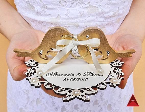 Porta Aliança Personalizada Em Mdf Branco (casamento)