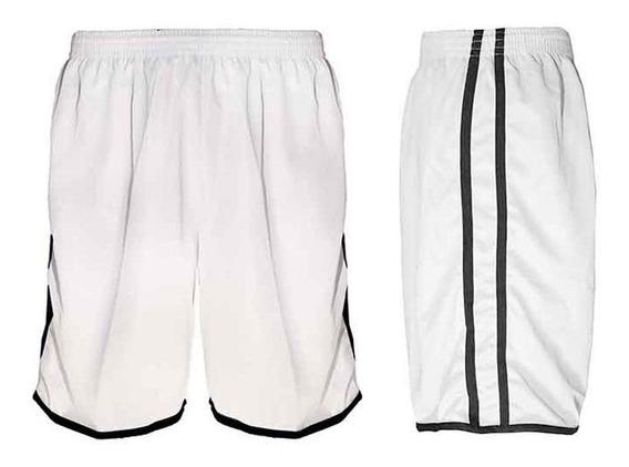 Calção Futebol Futsal Musculação--lotus- Branco/preto-adulto