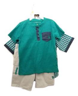Conjunto Infantil Masc U. S. Polo Assn. 2 Camisas 1 Bermuda