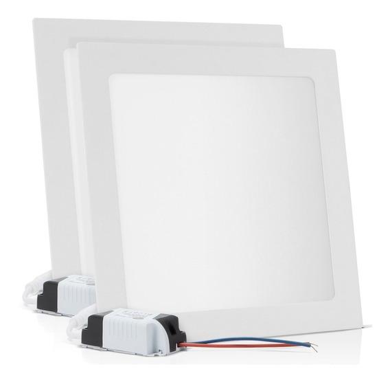 Kit 2 Painel Plafon Embutir 18w Led Branco Frio 6500k Luminária Reator Quadrado