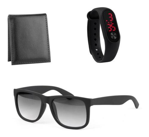 Relógio Preto + Carteira Slim+ Óculos Moderno Kit-masculino
