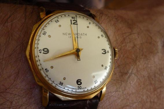 Relógio Pulso New Ardath 17 Rubis 18k Pulseira Couro Corda