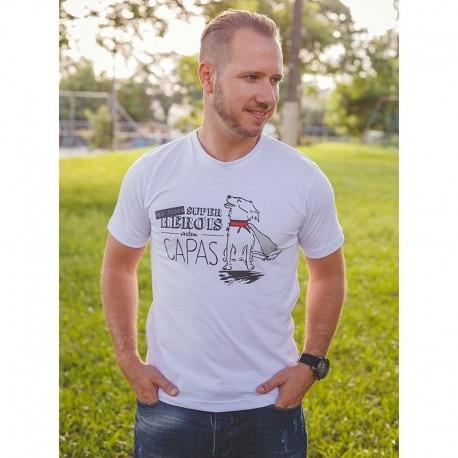 Camiseta Branca Unissex Hero Dog Lover 100% Algodão