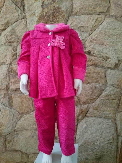 Conjunto Bebê Agasalho Plush Pink Ou Rosa Ursinho