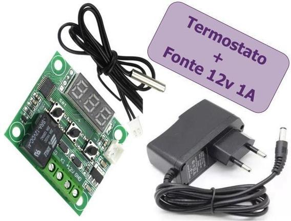 Kit 2 Termostato Digital 12v W1209 20a +1 Fonte 12v 1a Contr