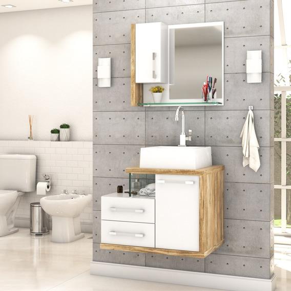 Gabinete Armário P/banheiro C/cuba Q355+espelheira Legno 650