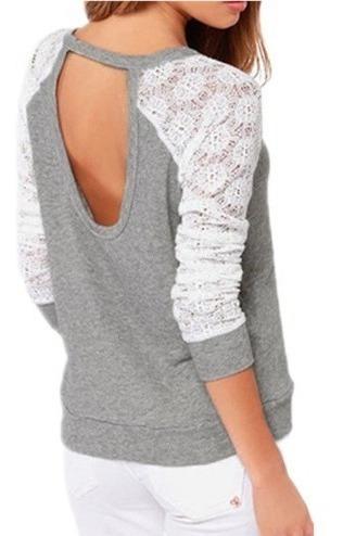 Blusa Feminina Moda Blogueira Rendada Decote U Nas Costas
