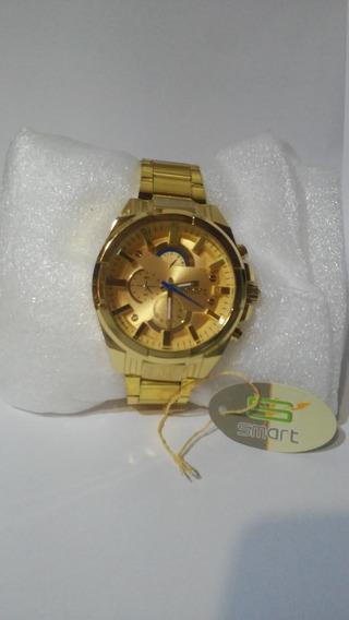 Relógio Masculino Smart Fundo Dourado Envio Imediato