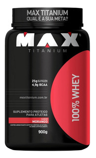 Massa Muscular Hipertrofia 100% Whey Protein 900g- Morango