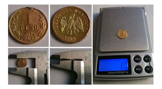 Moneda 1 Peso De Oro 14x1mm 1.692g Siglo Xix 1886