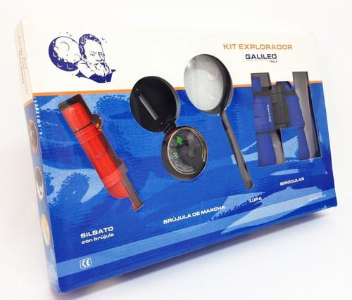 Imagen 1 de 3 de Kit Explorador Binocular Silvato Espejo Brujula Lupa E.full