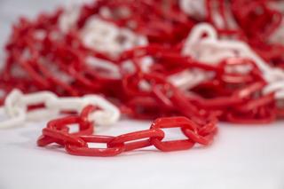 Cadena Plástica Bicolor Roja Y Blanca De 6mm X 50mts