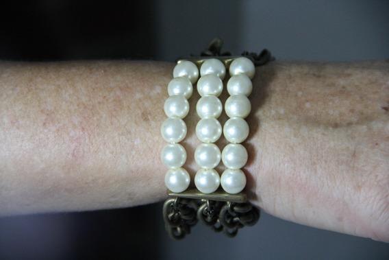 Bracelete Com Pérolas