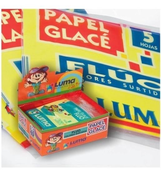 Papel Glace Fluor Luma Glase Fluorescente 10x10cm X 5 Hjs