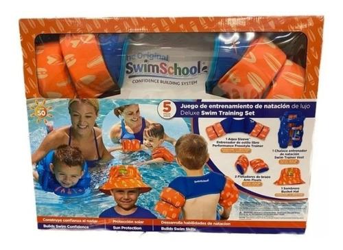 Imagen 1 de 6 de Kit De Natacion Chaleco Flotadores Sombrero Swimschool Niños