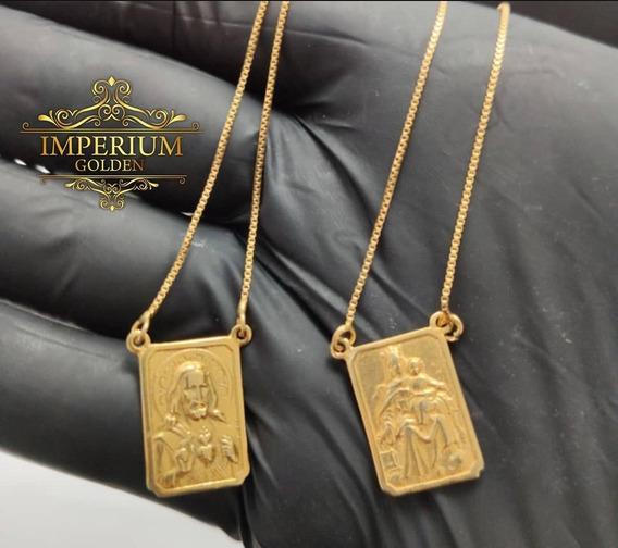 Escapulário Dourado Em Moeda Tamanho G 65cm