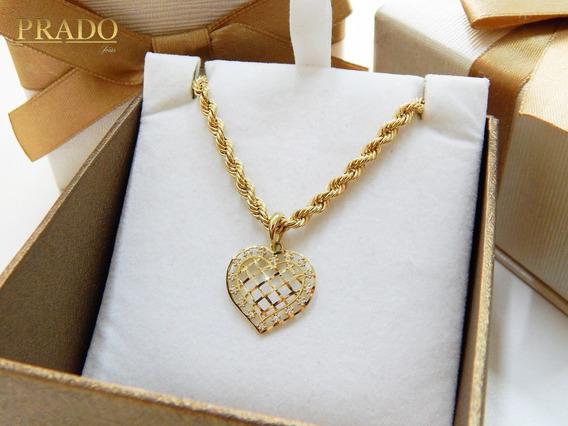 Cordão Baiano Com Pingente Coração Zircônias Em Ouro 18k