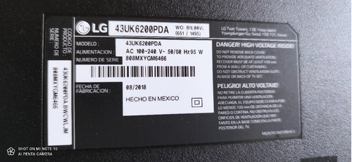 Imagen 1 de 2 de Televisor LG 43 Pulgadas Para Repuestos