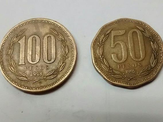 2 Monedas Chilenas 100 Y 50 Pesos Bronce Año 1995 Envío $40