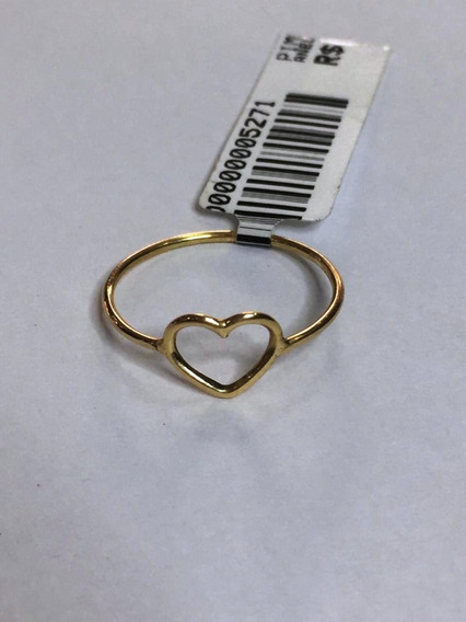 Anel Em Formato De Coração - Pureza De 750 Ouro Dezoito K !!