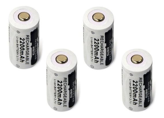 04 Bateria Lithium Recarregável 16340 Cr123a 3,7 V 2200 Mah