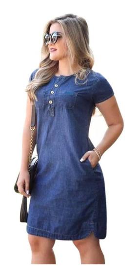 Vestido Jeans Leve Com Bolso Nas Laterais Plus Size P Ao G2