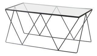 Mesa Baja Ratona Moscu Acero Hierro Y Vidrio Diseño Moderno