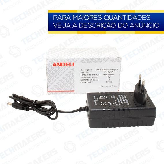 Fonte De Alimentação 12v 3a Bivolt Automatica Plug P4 Andeli