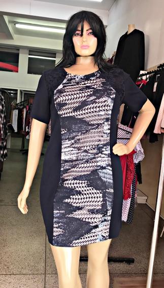 Vestido Moda Evangélico Plus Size Roupa Feminina 2 Flores