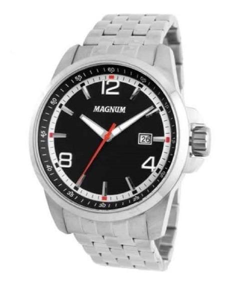 Relógio Masculino Em Aço Social Magnum 10 Atm Ma34629c
