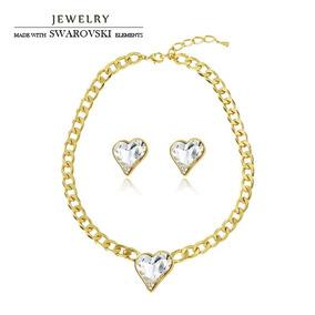 415e8ed4dacd Collares Aretes Corazon Swarovski Elements Oro Laminado Gran