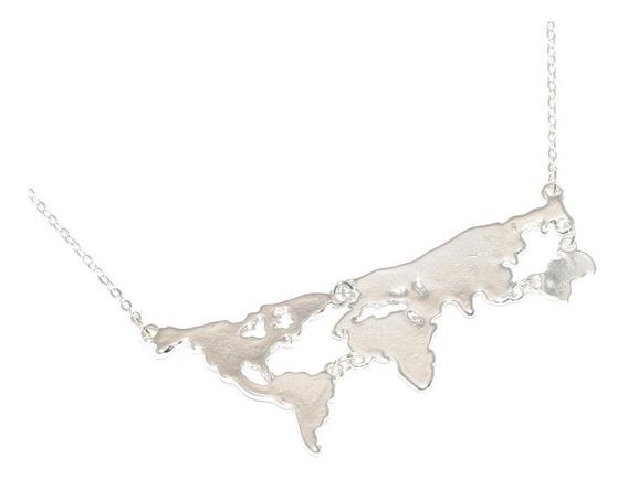 Colar Turismo Viagem Mundo Mapa Países Folheado Prata