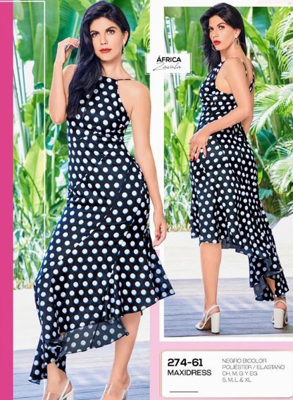 Maxidress Negro Bicolor 274-61 Cklass Primavera-verano 2020