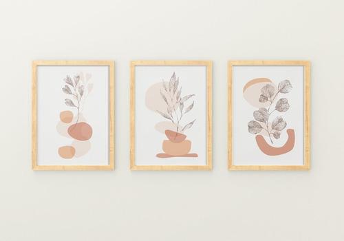 3 Cuadros Decorativos, De 35x45  , Lamina  Marco, Sin Vidrio