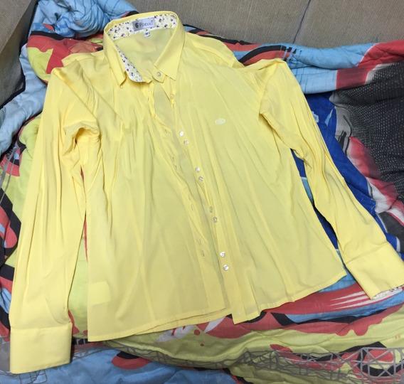 Camisa Social - Amarela - Manga Longa - Frete Gratis