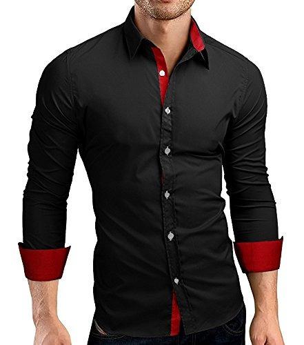 Cuson Hombre Camisa De Vestir Casual Algodón Slim Fit Cam